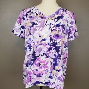 Alfred Dunner Purple Floral Top Size 10